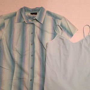 New York & Company Aqua Button Up Shirt w/Camisole